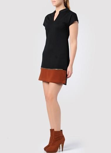 Caramel Kısa Kollu Mini Elbise Siyah